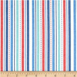 Alpine Flannel Geared Up Stripes Blue Fabric