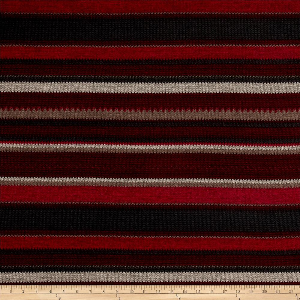 Lightweight Sweater Knit Braided Stripe Burgundy/Grey