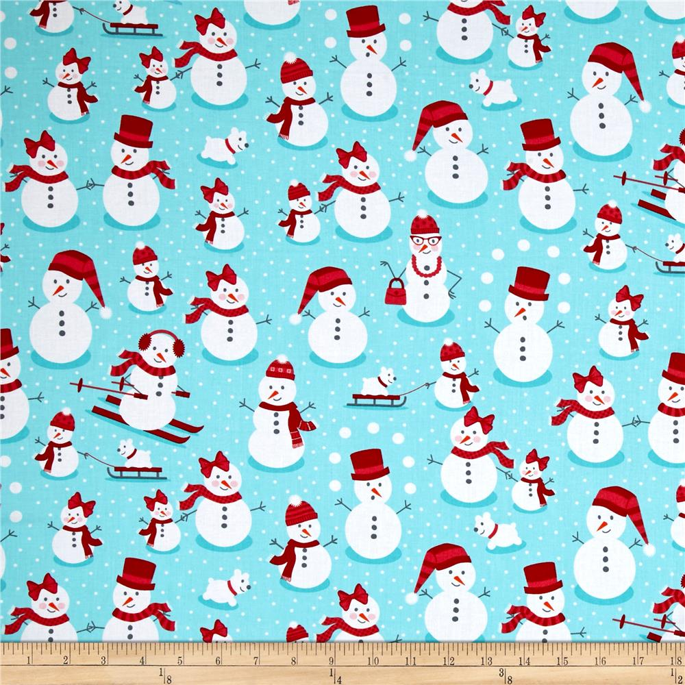 Kaufman Polar Pals Holiday Snowmen Aqua