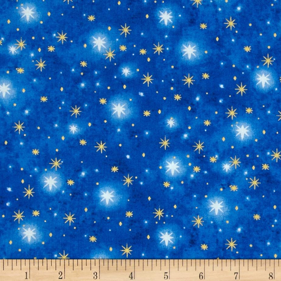 O 39 holy night metallic north star blue discount designer for Star design fabric