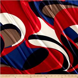 Satin Charmuese Abstract Rouge/Navy/Ecru
