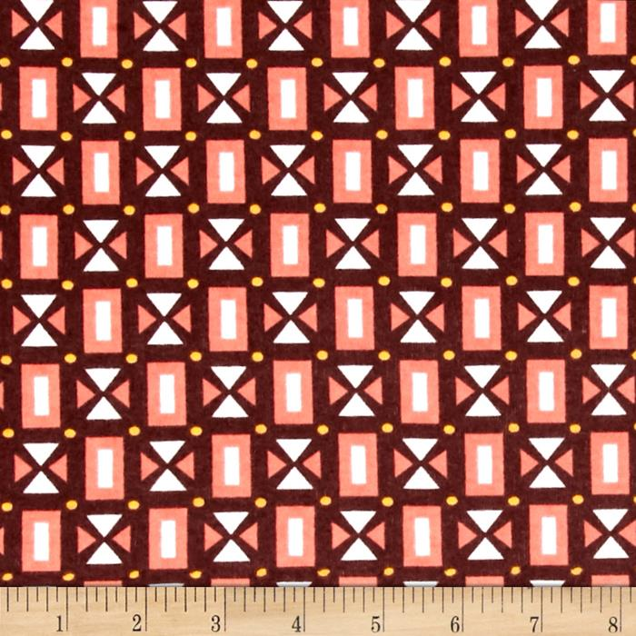 Stretch Jersey Knit Aztec Square Brown Coral