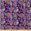 Indian Batik Caledonia Garden Paisley  Purple