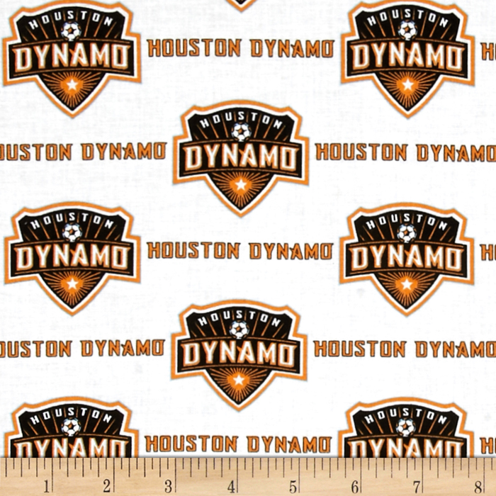 MLS Cotton Broadcloth Houston Dynamo White Fabric by Fabric Traditions in USA