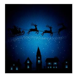 "Supernova Seasons Digital Santa Sleigh Silhouette 44"" Panel Sapphire"