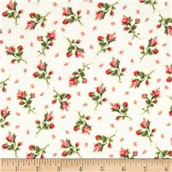 American Bouquet Flannel Buds Cream Fabric