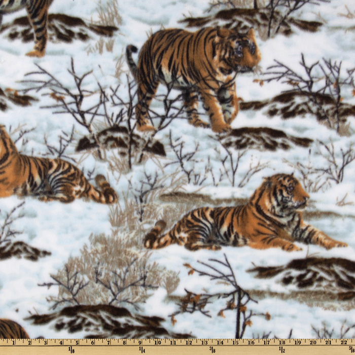 WinterFleece Snow Tigers Tan Fabric