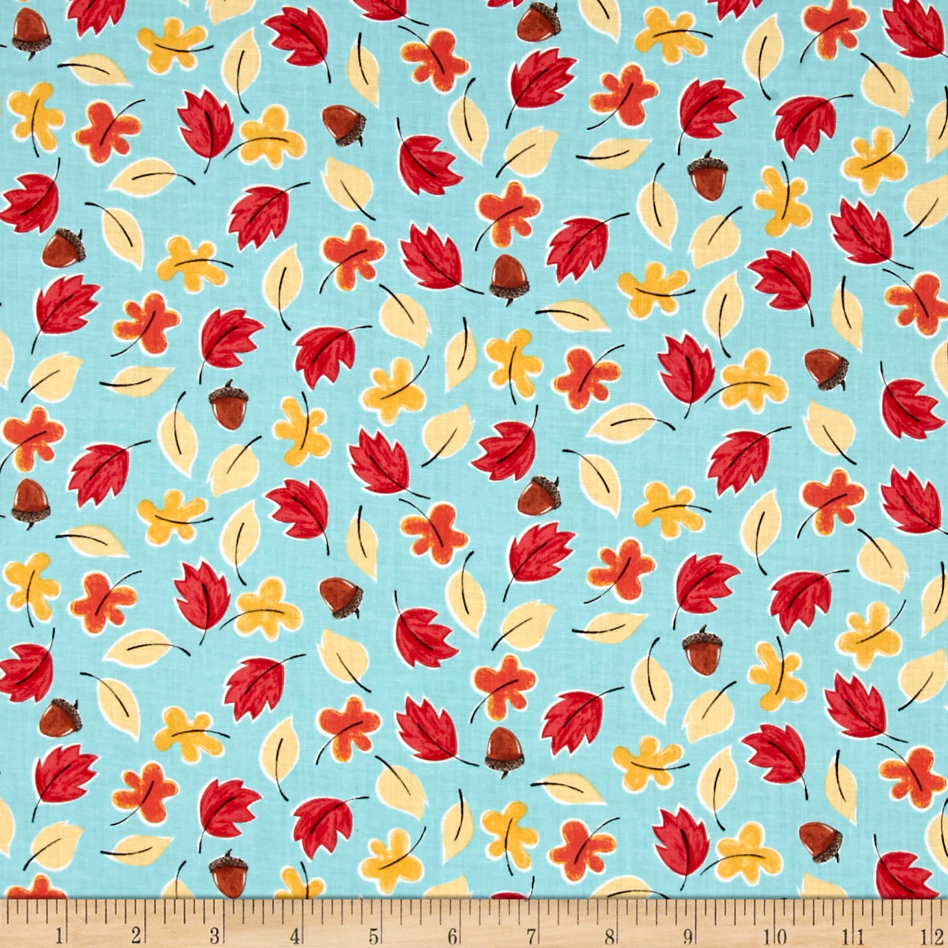 Susybee Bruce the Moose Falling Leaves Turquoise Fabric by Susybee in USA