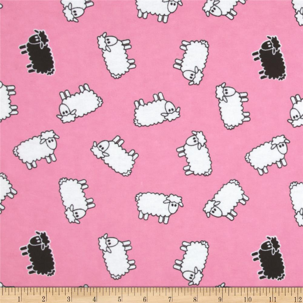 Aunt Polly's Flannel Sheep Pink/White