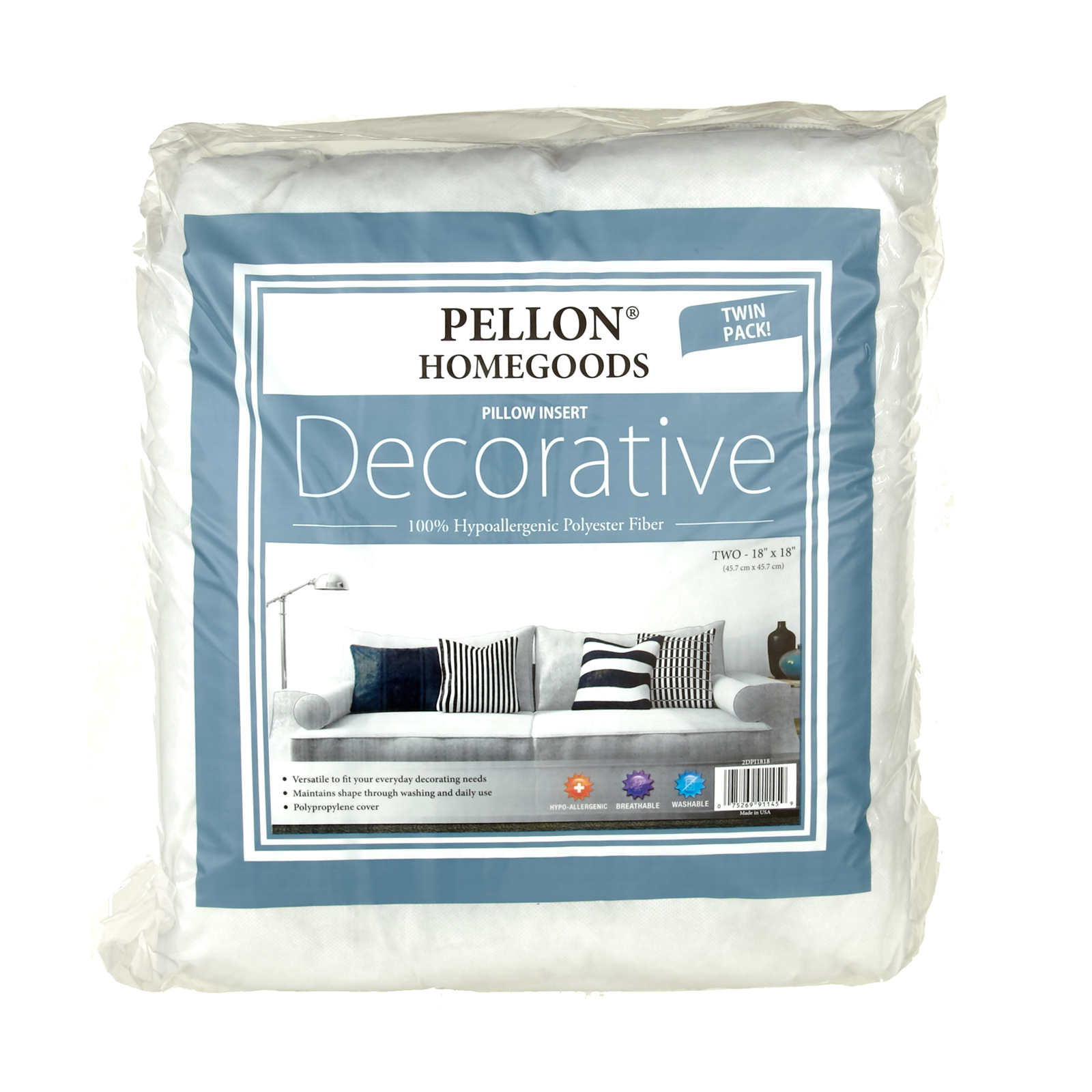 Pellon HomeGoods Twin Pack Decorative Pillow Insert 18x18 by PCP in USA