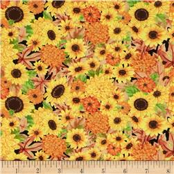 Harvest Time Packed Flowers & Leaves Brown Fabric