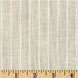 Tuscany Pinstripe Chambray Linen Light Tan/Cream Fabric