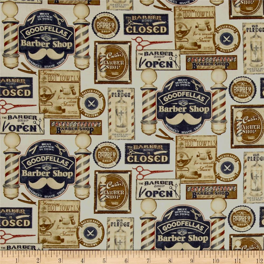 Barber Shop Shave and Haircut Parchment/Multi