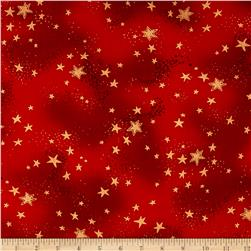 Laurel Burch Enchantment Metallic Stars Light Red