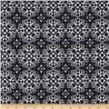 Bloom Stretch Cotton Sateen Mosaic Print Black