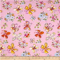 Tiddlywinks Butterflies Pink Fabric