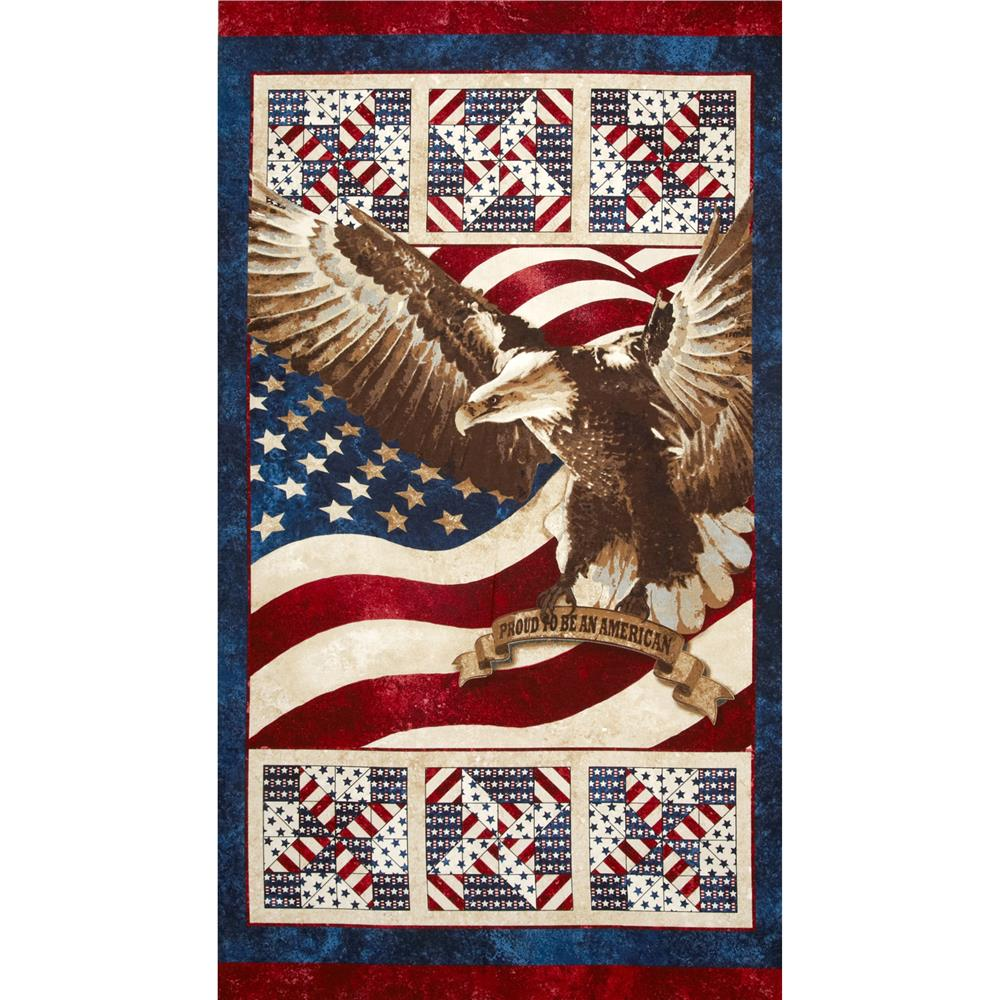 "Stonehenge Stars & Stripes Eagle 24"" Panel Multi"