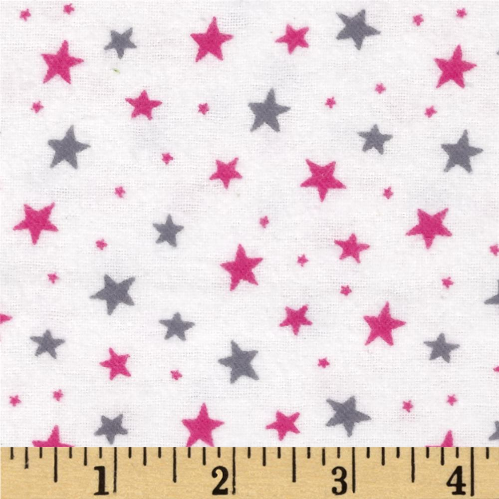 Flannelland Stars Around White/Pink