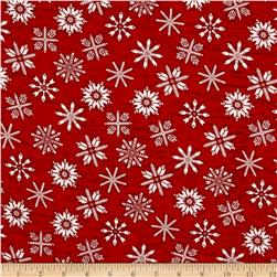 Frosty Folks Flannel Snowflake Red