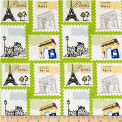 Riley Blake Pepe in Paris Stamp Lime Fabric