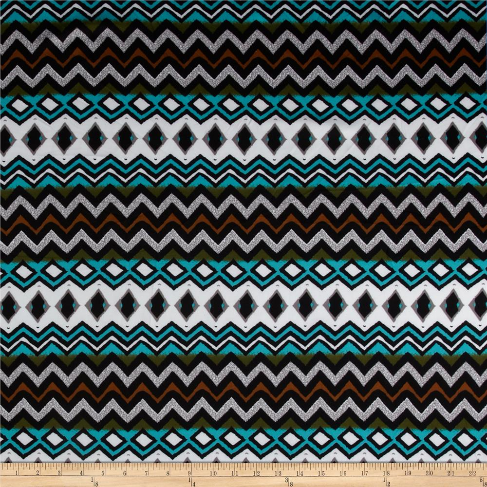 Techno Scuba Knit Aztec Abstract Turquoise