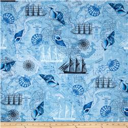 Timeless Treasures Sea Shell Nautical Blue