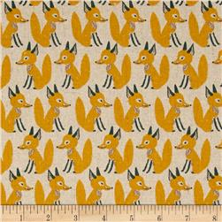Seven Islands Foxes Cotton/Linen Blend Yellow Fabric
