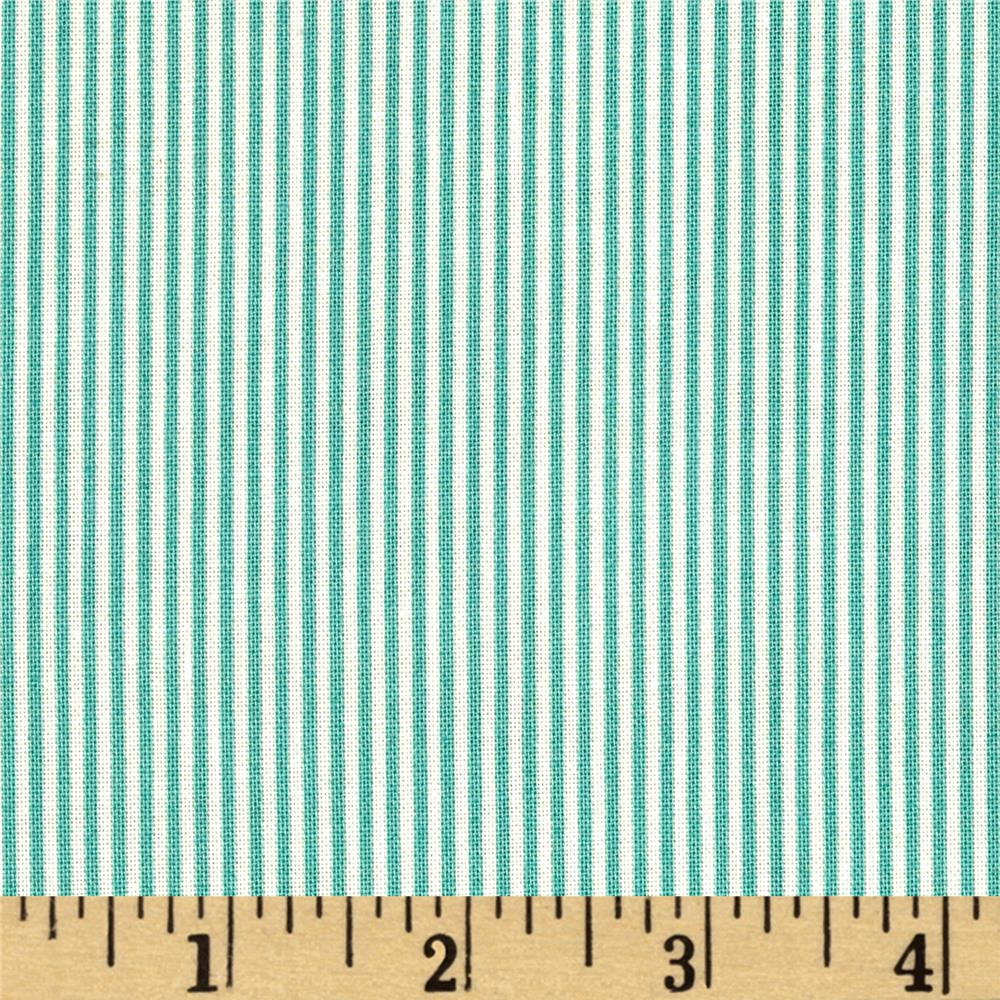 Summer Days Tiny Stripe Dark Green/Ivory
