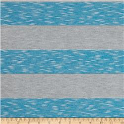 Yarn-Dyed Jersey Stripe Knit Grey/Turquoise