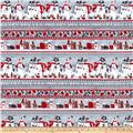 Seasons Greetings Snowman Stripe Grey/Red