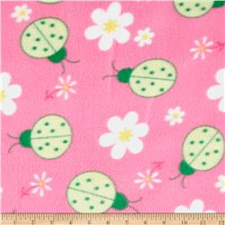 Printed Fleece Bugs & Flowers Pink