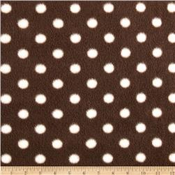 Fleece Print Dots Brown/White