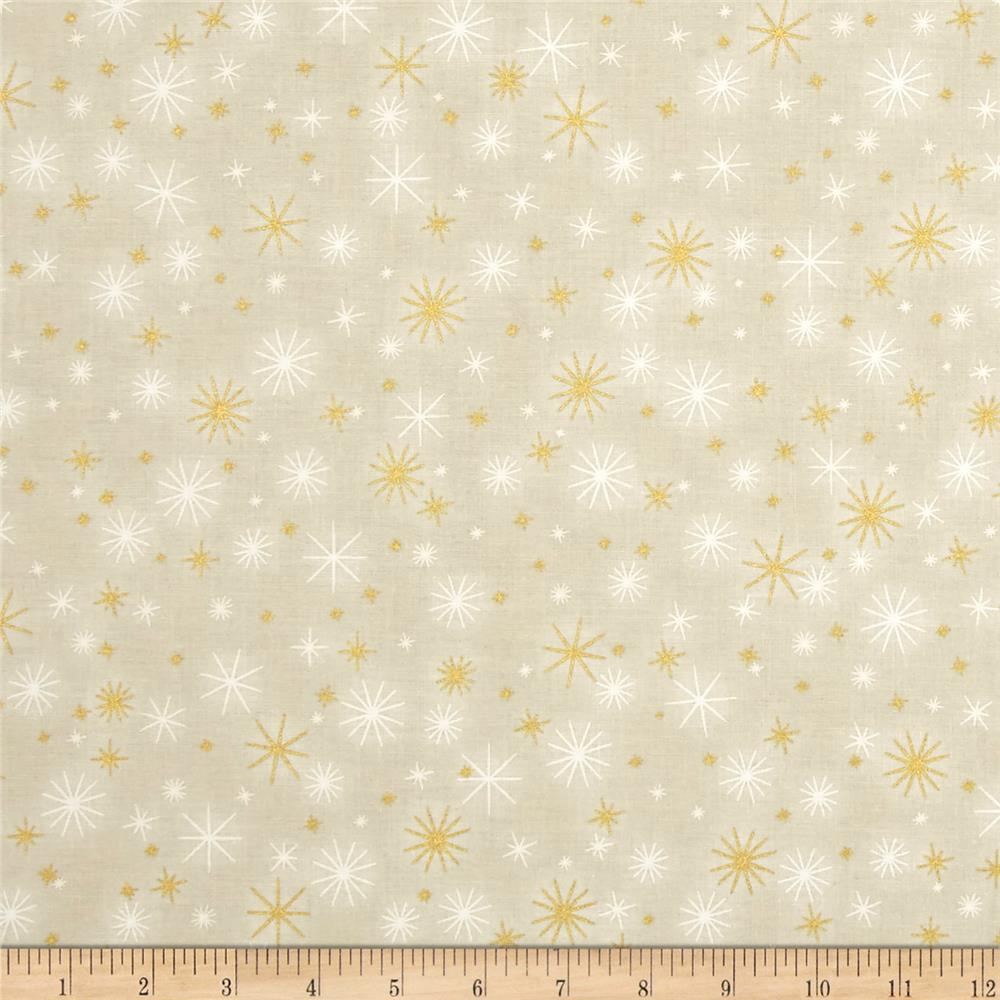 Kaufman Winter Grandeur Metallic Twinkle Ivory