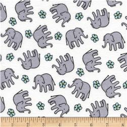 Timeless Treasures Safari Crush Flannel Elephants White