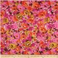 Stretch Designer Knit Floral Orange/Fuchsia