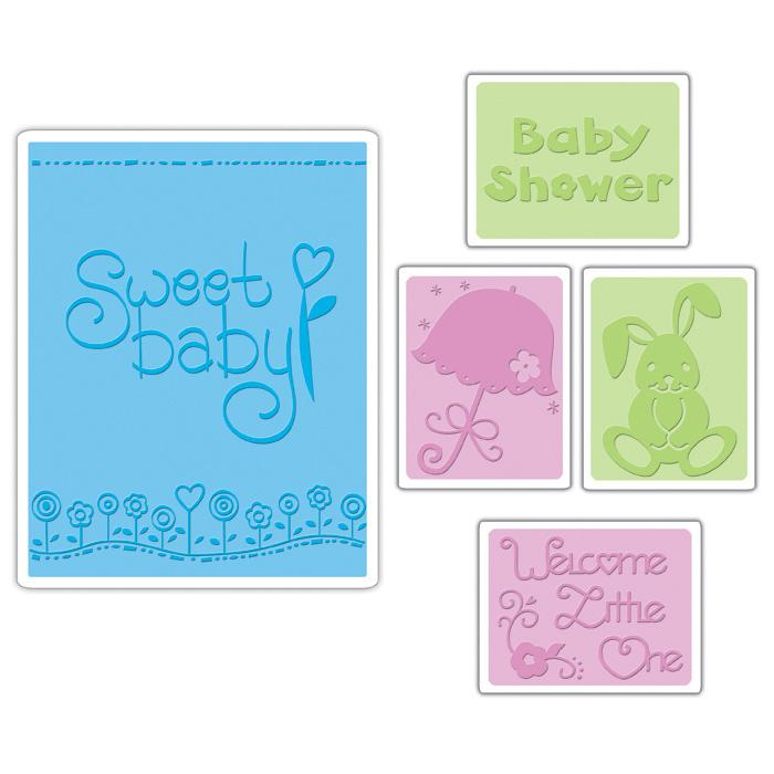 Sizzix Textured Impressions Embossing Folders 5 Pack-Baby Set