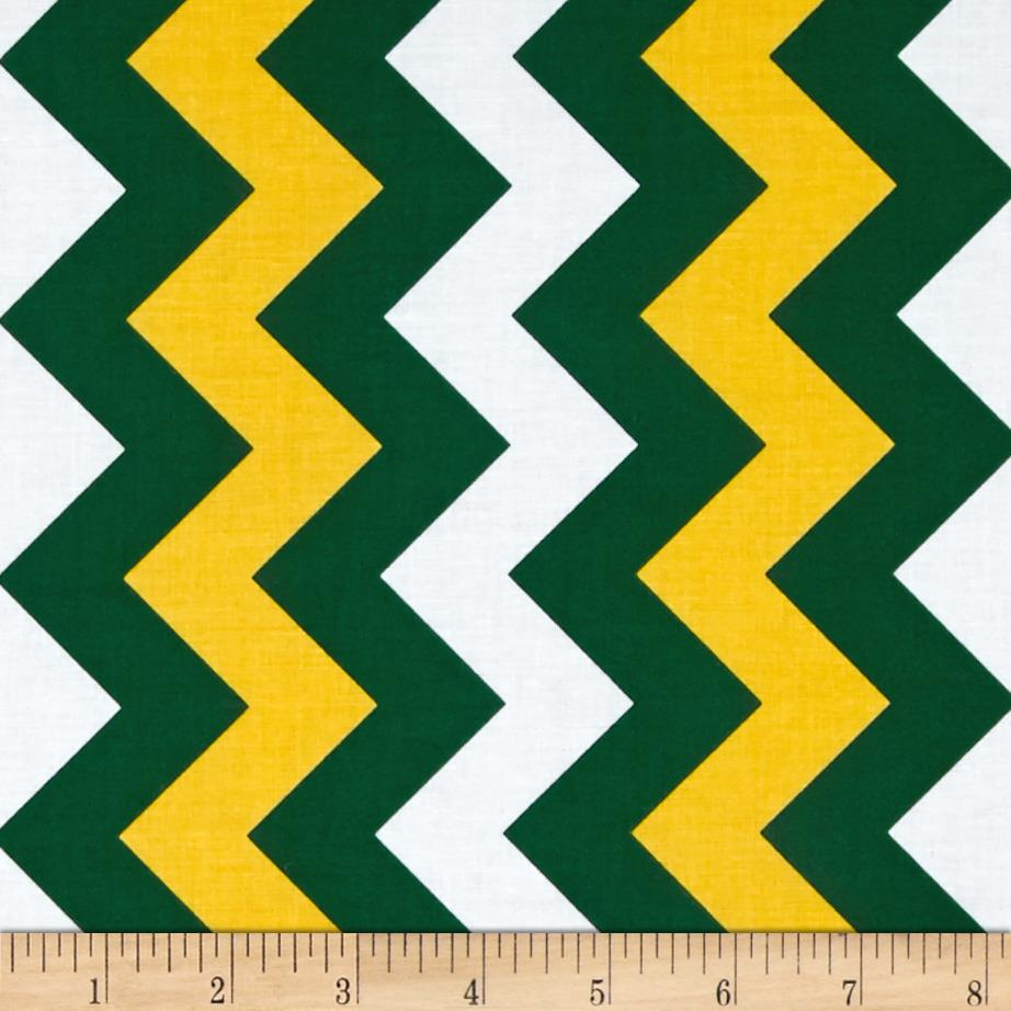 Riley Blake Medium Chevron Green/Gold