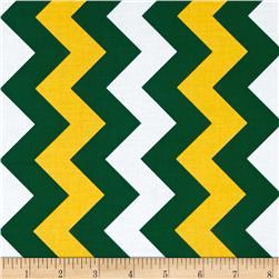 Riley Blake Medium Chevron Green/Gold Fabric