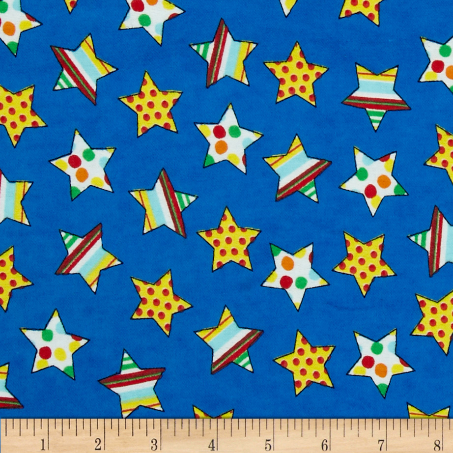 Flannel Novelties Medium Tossed Stars Blue Fabric