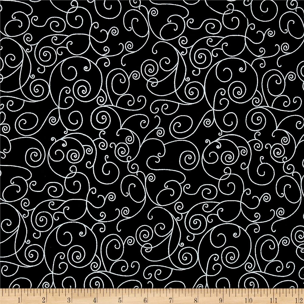 110 In. Wide Quilt Back Willow Black/White Fabric