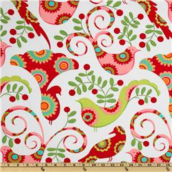 Michael Miller Christmas Pretty Bird Santa Red Fabric