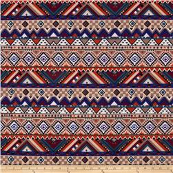 Stretch ITY Jersey Knit Aztec Chevron Multi-Brown/Blue