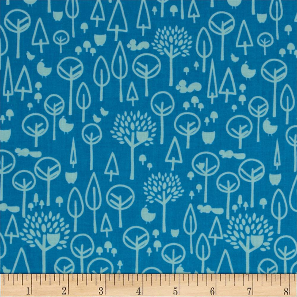 Riley Blake Scenic Route Trees Blue