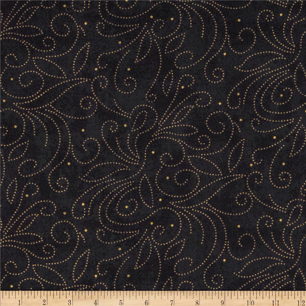 "110"" Wide Quilt Backing Scroll Black/Gold"