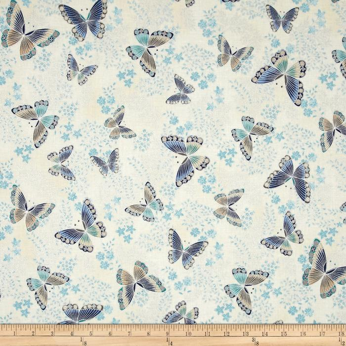 Kaufman Tuscan Wildflower Metallic Butterflies Copen