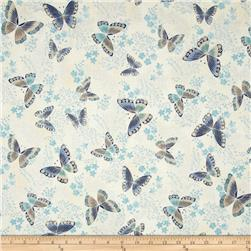 Robert Kaufman Tuscan Wildflower Metallic Butterflies Copen