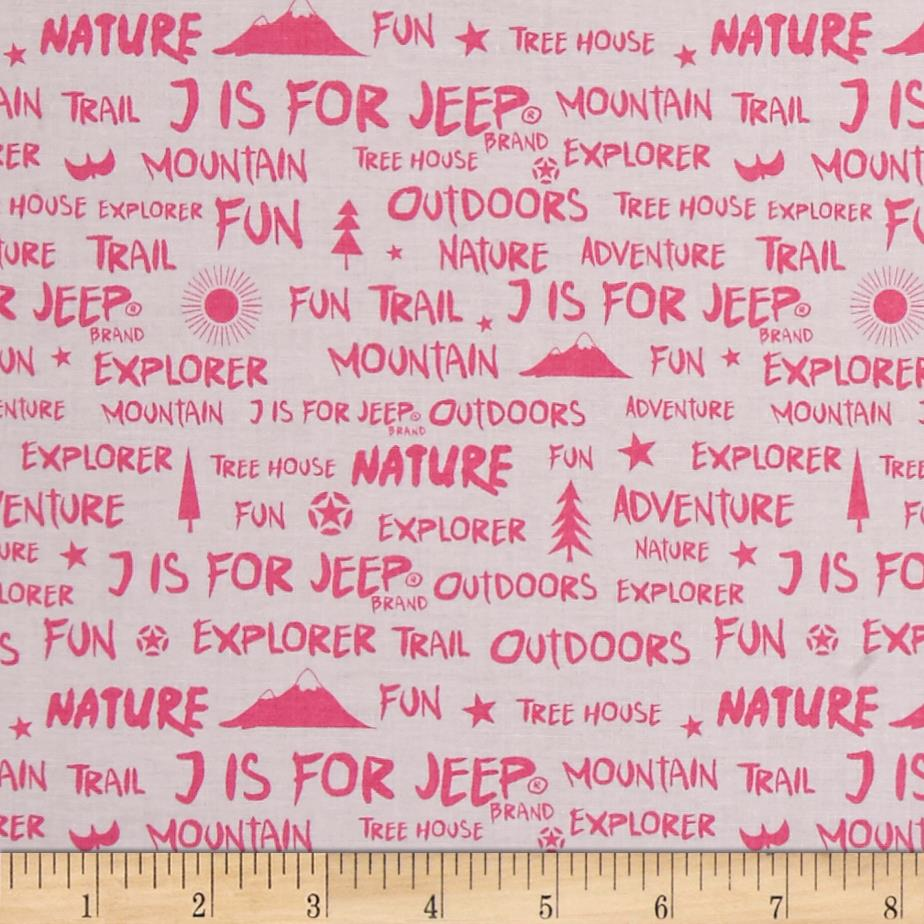 Riley Blake J is for Jeep Words Pink