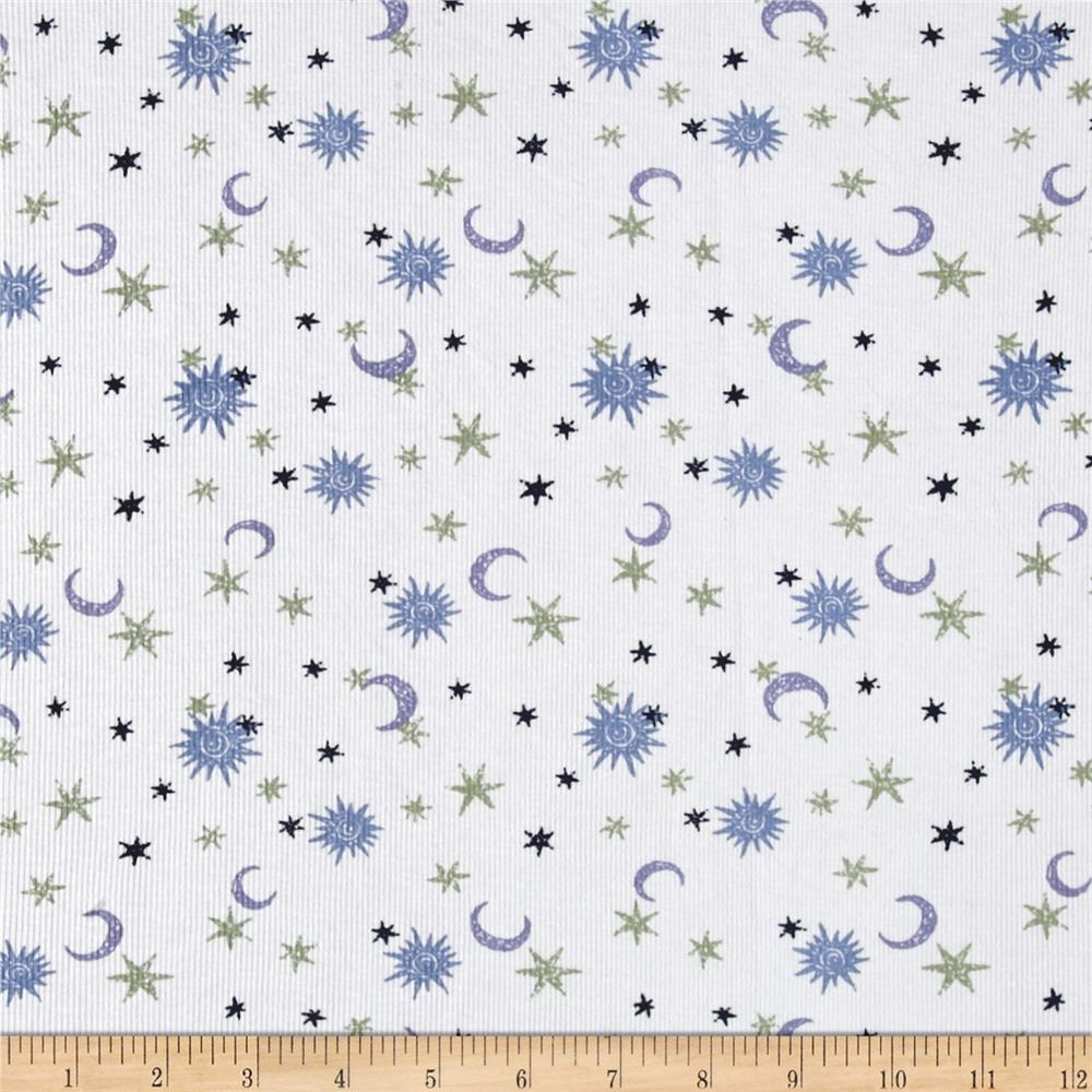 Pajama rib knit moon stars white blue discount for Kids knit fabric