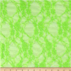 Stretch Lace Floral Neon Lime Green