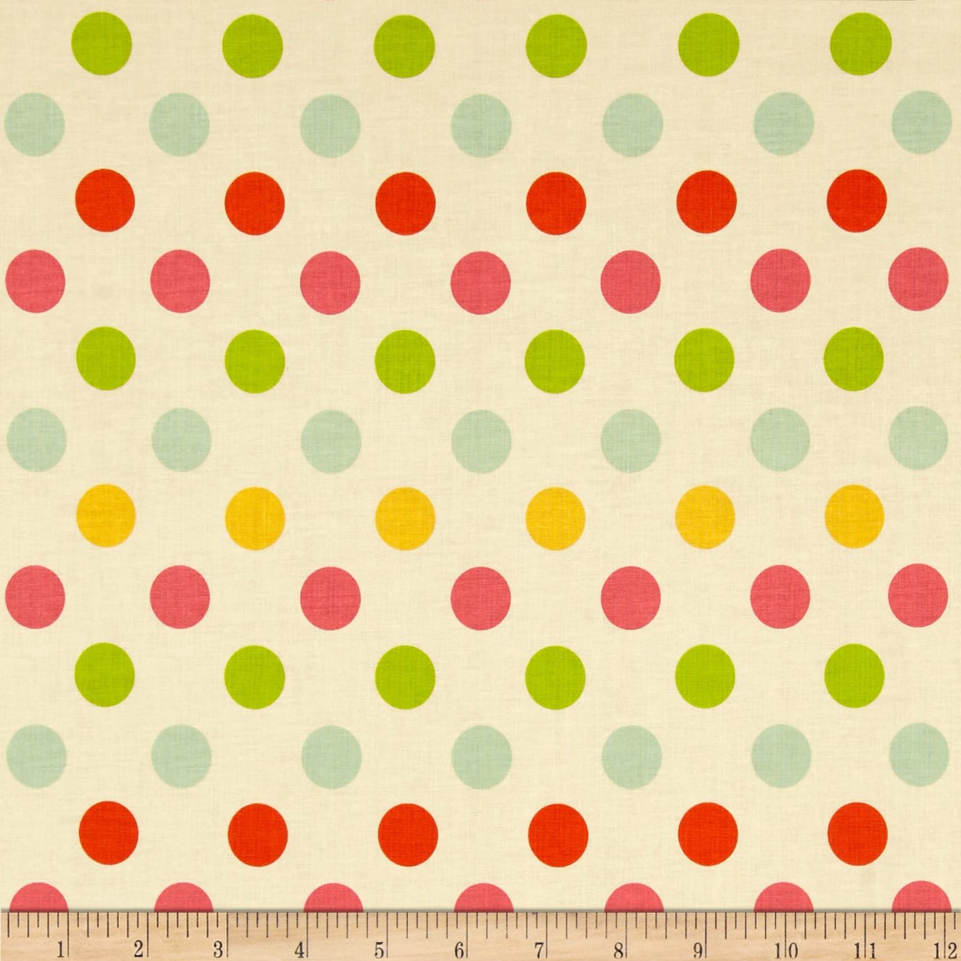 Riley Blake Medium Dot Cream/Multi Fabric
